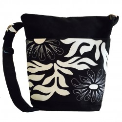 Day Bag Black/White leaves