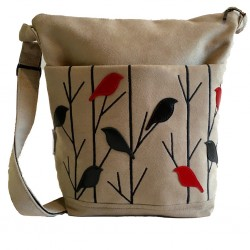 Day Bag Taupe Birds